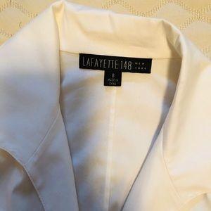 White cotton cropped tie waist blouse